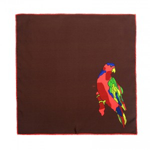 Parrot Brown Pocket Handkerchief